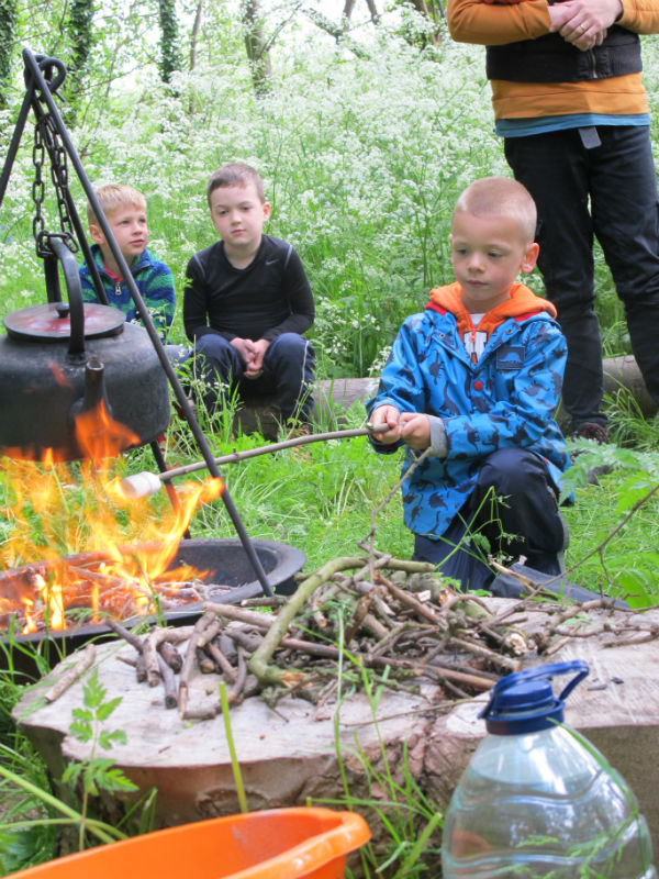 Boy cooking marshmallow on skewer over campfire