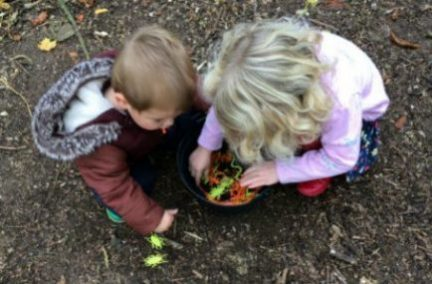 Toddler boy and girl looking into a plastic cauldron filled with plastic insects