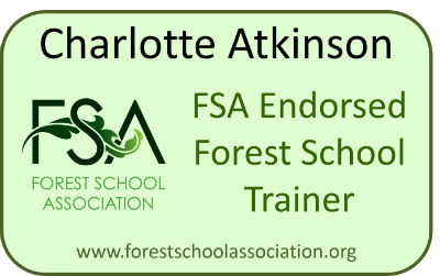 Logo from the Forest School Association showing that Charlotte Atkinson is a Forest School Association Endorsed Trainer